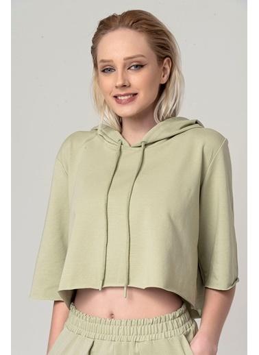 Coral Kısa Kapüşonlu Sweatshirt Açık Yeşil Yeşil